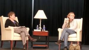 Professor Kathy Ivey interviewing Anne Lamott / visitingwriters.lr.edu