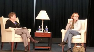Professor Kathy Ivey interviewing Anne Lamott / visitingwriters.lr.edu